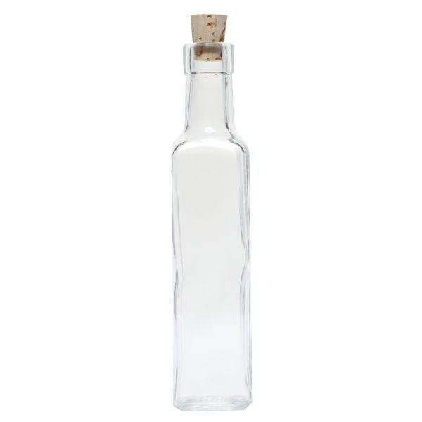 Square Glass Bottle, 8.5 Ounce (Cork)