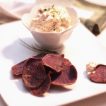 Creamy Saffron Bacon Dip with Crispy Sweet Potatoes