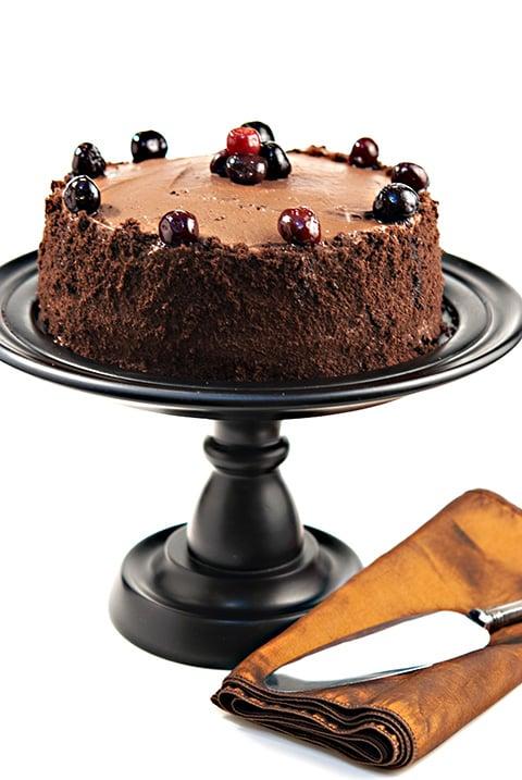 Drunken Cherry Chocolate Layer Cake | Beanilla