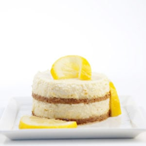 Mini Lemon Cheesecake with Vanilla Candied Lemons