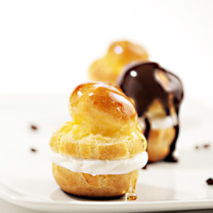 Profiteroles with Vanilla Almond Cream