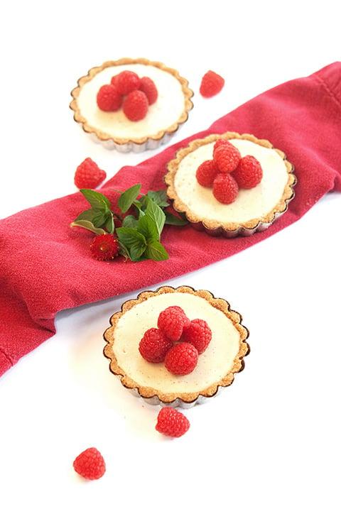 Raspberry Amaretto cheesecakes