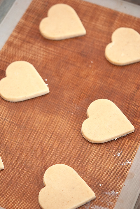 black and white shortbread hearts