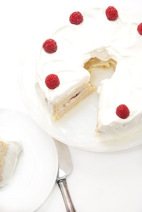 white chocolate ganache angel cake