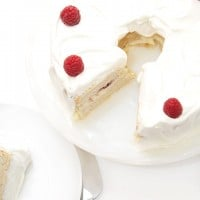 Raspberry White Chocolate Angel Food Cake