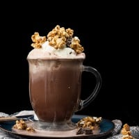 Caramel Hot Chocolate with Homemade Caramel Corn