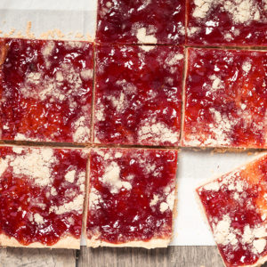 Strawberry Vanilla Shortbread Bars