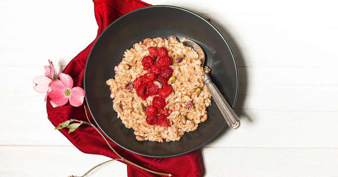 Raspberry Vanilla Farro Porridge