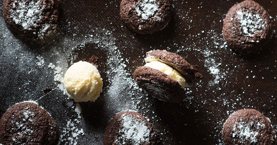 Chocolate Crackle Cookie Ice Cream Sandwiches