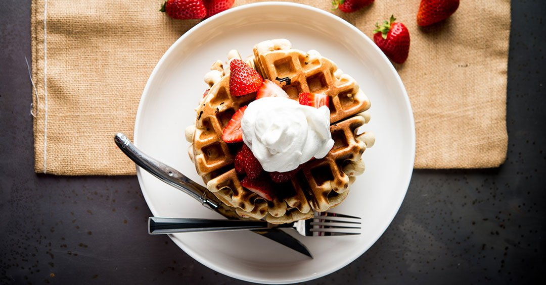 Strawberry Malt Waffles