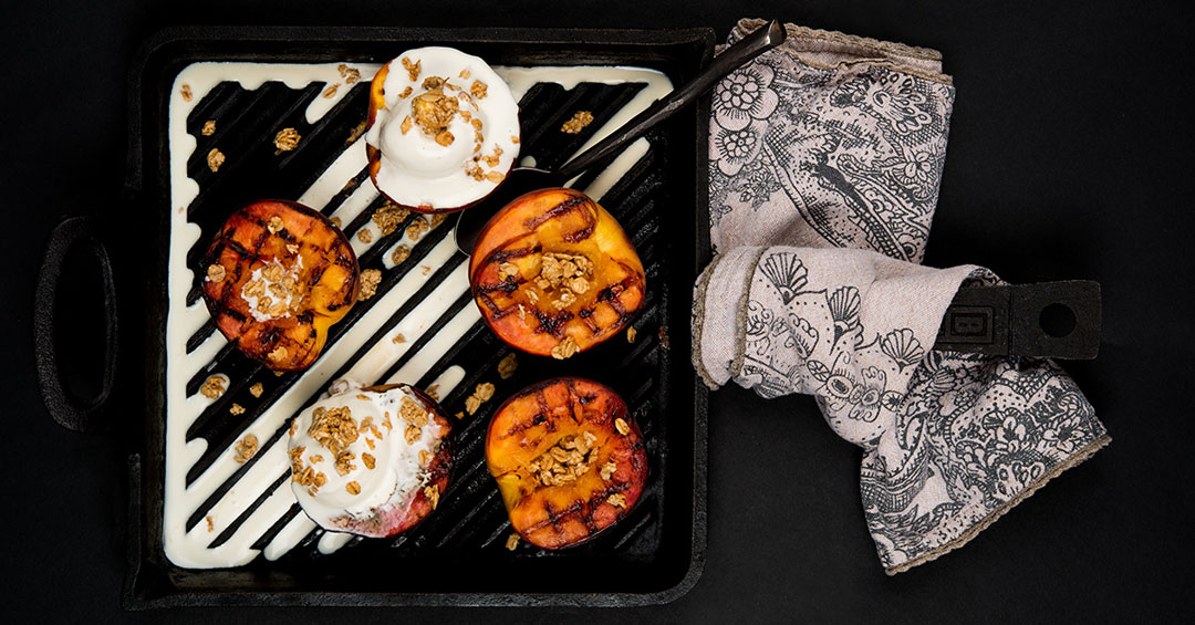 Grilled Peaches with Lavender Honey Glaze
