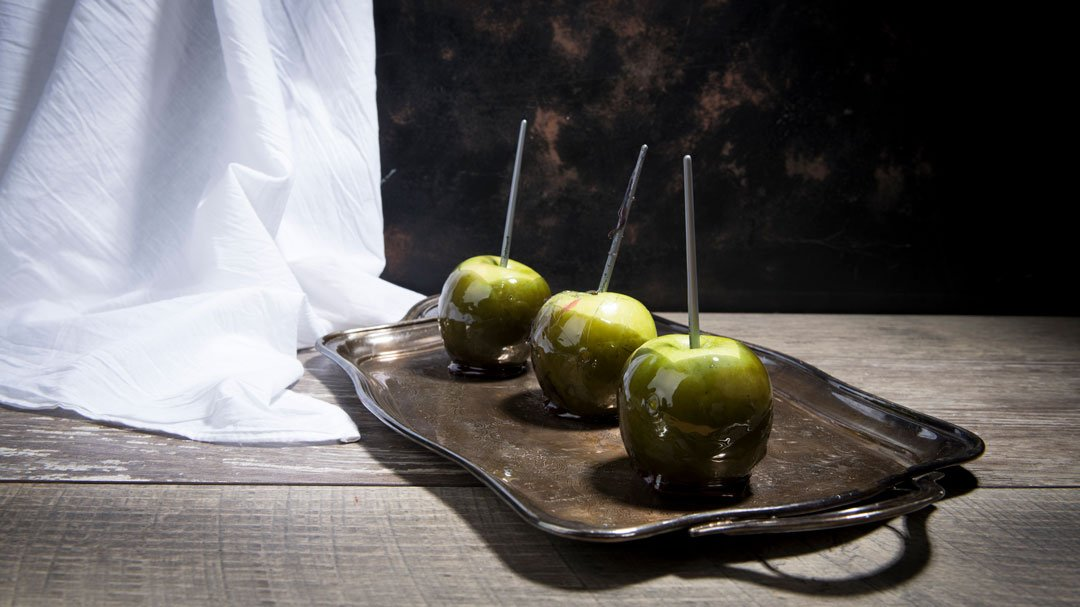 Pitch Black Candy Apples