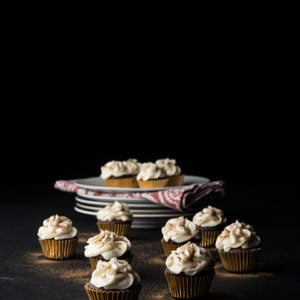 Dark Chocolate Eggnog Cupcakes